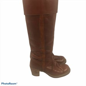 Vintage Frye Black Tall Fold Boots Cognac Leather